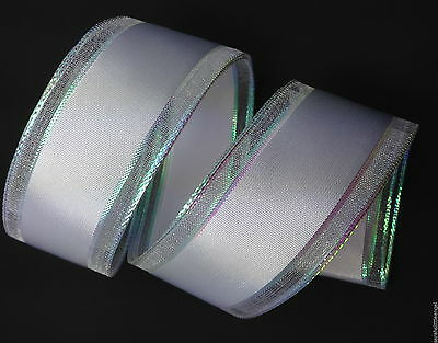 3mt X 38mm wide White with Shimmer Edges Grosgrain ribbon Wedding DIY crafting