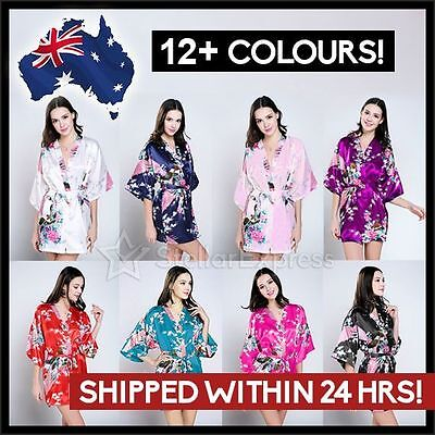 BRIDAL PARTY Floral Satin Robe Kimono Style Dressing Gown Hens Night Lingerie