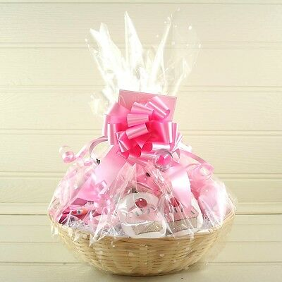 1/2/3/4 Mtrs Cellophane Gift wrap 1 Pull Bow  & Free Curling Ribbon Hamper Gift