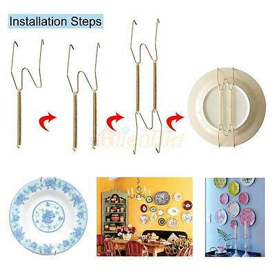 """Lot 5 Useful and Practical 9.8""""-11"""" Invisible Plate Hanger Wire Polished Brass"""