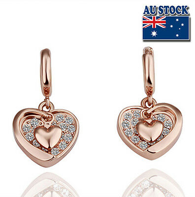 New 18K Rose Gold Filled Solid Heart Hoop  Earrings With SWAROVSKI Crystal