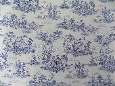 Vintage French Lovers Scenes Toile De Jouy Navy Cotton Fabric Material *3 Sizes*