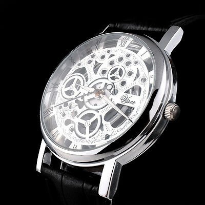 Skeleton Design Dial Men Womens Leather Band Stainless Steel Dial Wrist Watch