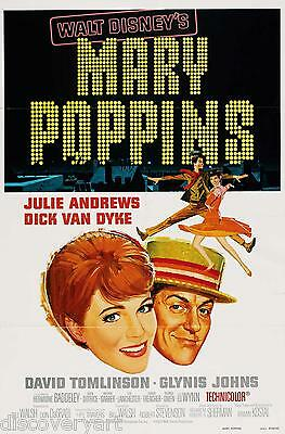 Mary Poppins 1964 Multi Size Film Canvas Wall Art Movie Poster Print Disney 60s
