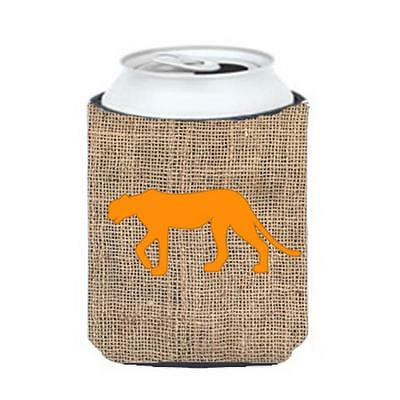 Carolines Treasures Leopard Burlap and Orange Can or Bottle Hugger