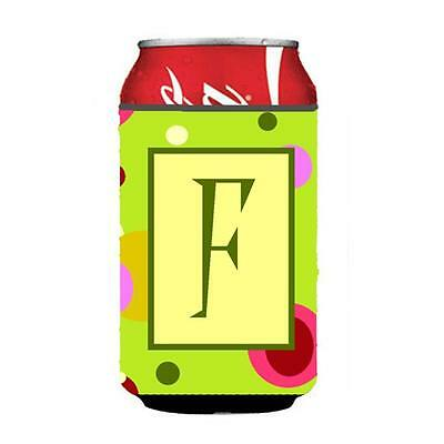 Carolines Treasures Letter F Initial Monogram Green Can or Bottle Hugger