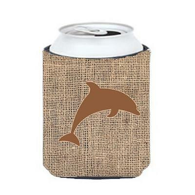 Carolines Treasures Dolphin Burlap And Brown Can Or Bottle Hugger