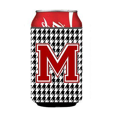 Carolines Treasures Monogram Houndstooth Can or Bottle Hugger Initial M