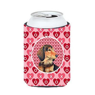 Dachshund Valentines Love and Hearts Can or bottle sleeve Hugger