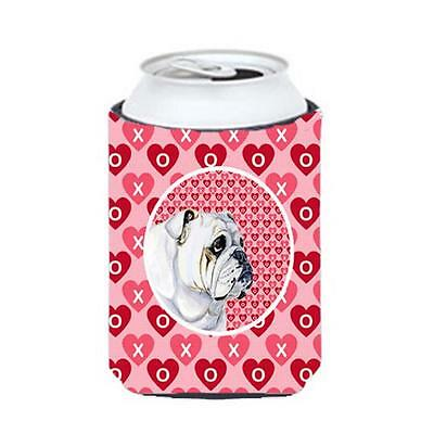 Bulldog English Valentines Love And Hearts Can Or Bottle Hugger 12 oz.