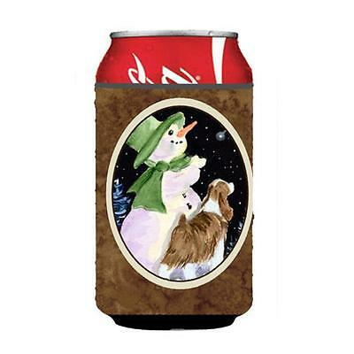 Carolines Treasures Snowman With Springer Spaniel Can Or Bottle Hugger 12 oz.