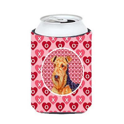 Airedale Valentines Love And Hearts Can Or bottle sleeve Hugger 12 oz.