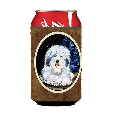 Starry Night Old English Sheepdog Can or bottle sleeve Hugger 12 oz.