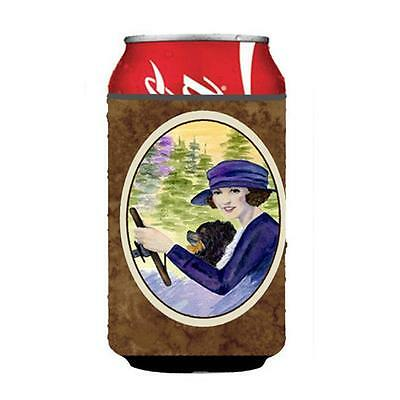 Lady Driving With Her Pomeranian Can Or bottle sleeve Hugger 12 oz.