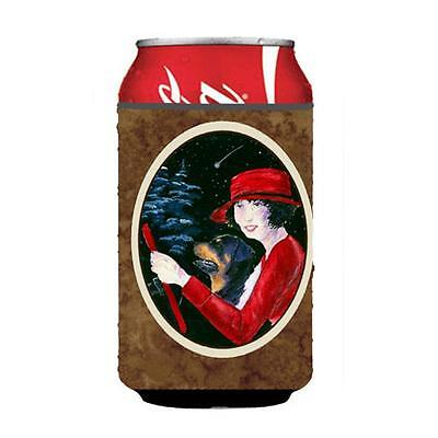 Lady Driving With Her Rottweiler Can Or bottle sleeve Hugger 12 oz.