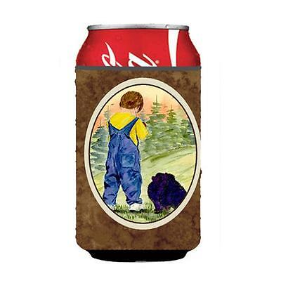 Little Boy With His Pomeranian Can Or bottle sleeve Hugger 12 oz.