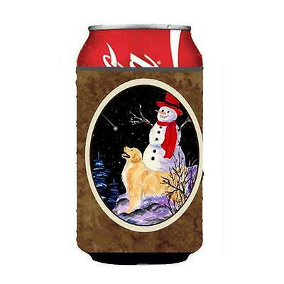Golden Retriever With Snowman In Red Hat Can Or bottle sleeve Hugger 12 oz.