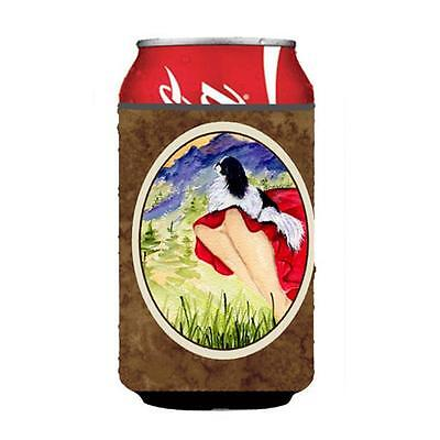 Lady With Her Japanese Chin Can Or bottle sleeve Hugger 12 oz.