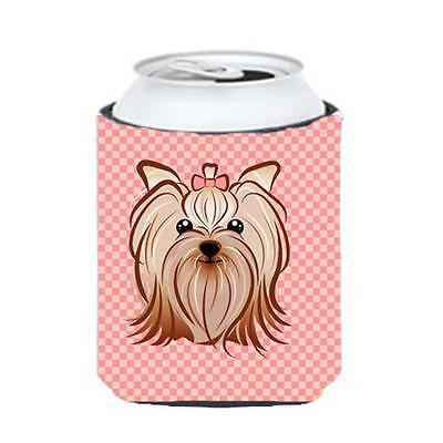 Pink Checkered Yorkie & Yorkshire Terrier Can or Bottle Hugger