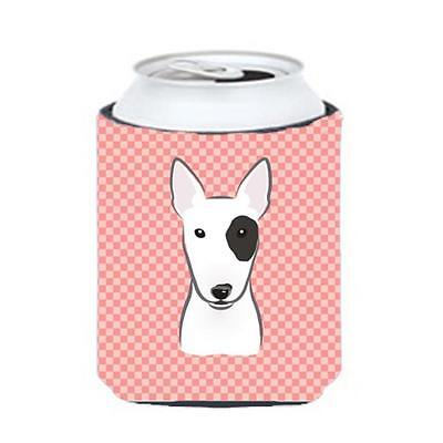 Carolines Treasures Checkerboard Pink Bull Terrier Can Or Bottle Hugger, 12 Oz.
