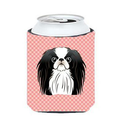 Carolines Treasures Checkerboard Pink Japanese Chin Can Or Bottle Hugger, 12 Oz.