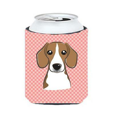 Carolines Treasures Checkerboard Pink Beagle Can Or Bottle Hugger, 12 Oz. • AUD 45.90