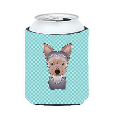 Carolines Treasures Checkerboard Blue Yorkie Puppy Can Or Bottle Hugger, 12 Oz.
