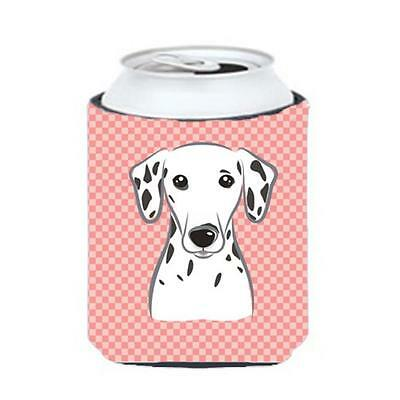 Carolines Treasures Checkerboard Pink Dalmatian Can Or Bottle Hugger, 12 Oz.