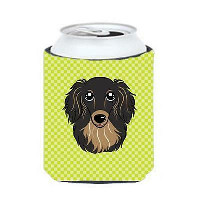 Checkerboard Lime Green Longhair Black And Tan Dachshund Can Or Bottle Hugger...