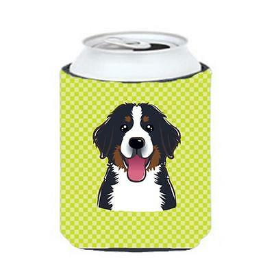 Checkerboard Lime Green Bernese Mountain Dog Can Or Bottle Hugger, 12 Oz.