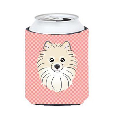 Carolines Treasures Checkerboard Pink Pomeranian Can Or Bottle Hugger, 12 Oz.