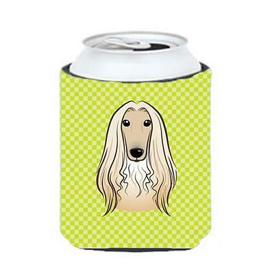 Checkerboard Lime Green Afghan Hound Can Or Bottle Hugger, 12 Oz.