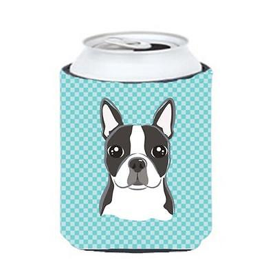 Checkerboard Blue Boston Terrier Can Or Bottle Hugger, 12 Oz.