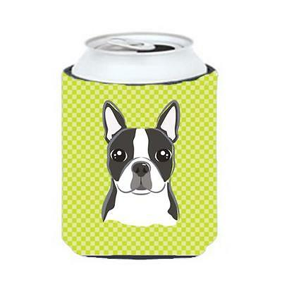 Checkerboard Lime Green Boston Terrier Can Or Bottle Hugger, 12 Oz.