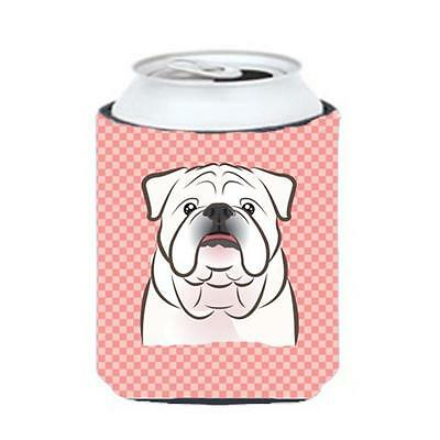 Checkerboard Pink White English Bulldog Can Or Bottle Hugger, 12 Oz.