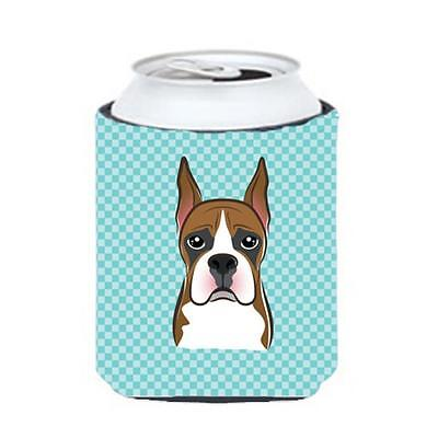 Carolines Treasures Checkerboard Blue Boxer Can Or Bottle Hugger, 12 Oz.