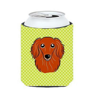 Checkerboard Lime Green Longhair Red Dachshund Can Or Bottle Hugger, 12 Oz.