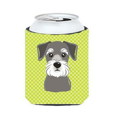 Checkerboard Lime Green Schnauzer Can Or Bottle Hugger, 12 Oz.