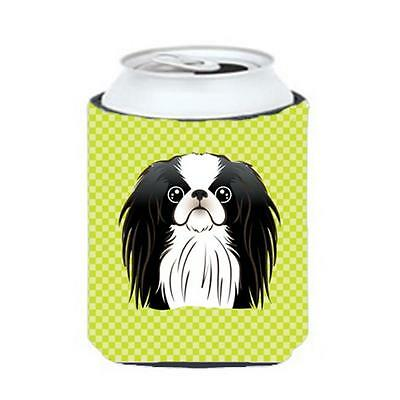 Checkerboard Lime Green Japanese Chin Can Or Bottle Hugger, 12 Oz.