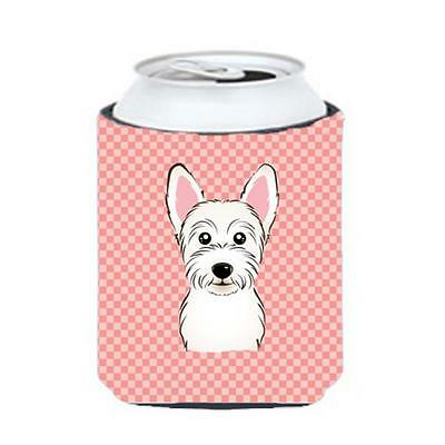 Carolines Treasures Checkerboard Pink Westie Can Or Bottle Hugger, 12 Oz.