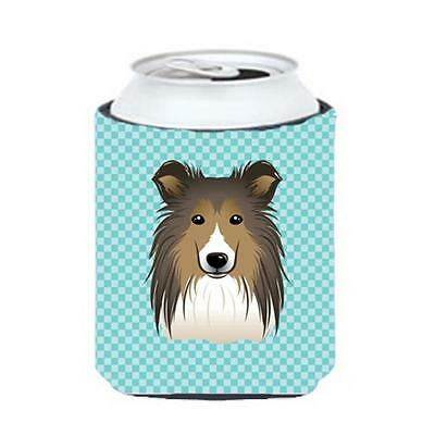 Carolines Treasures Checkerboard Blue Sheltie Can Or Bottle Hugger, 12 Oz.