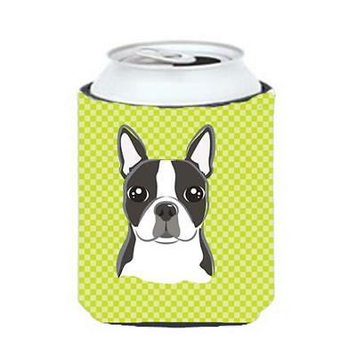 Carolines Treasures BB1139CC Lime Checkered Boston Terrier Can or Bottle Hugger