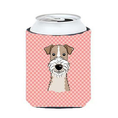 Checkerboard Pink Wire Haired Fox Terrier Can Or Bottle Hugger, 12 Oz.