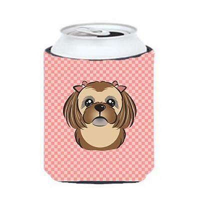 Checkerboard Pink Chocolate Brown Shih Tzu Can Or Bottle Hugger, 12 Oz.
