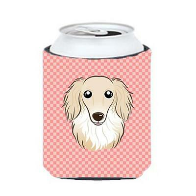 Checkerboard Pink Longhair Creme Dachshund Can Or Bottle Hugger, 12 Oz.
