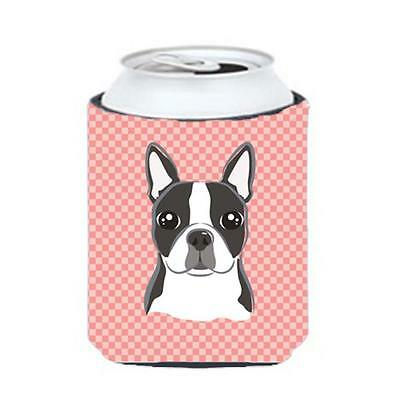 Checkerboard Pink Boston Terrier Can Or Bottle Hugger, 12 Oz.