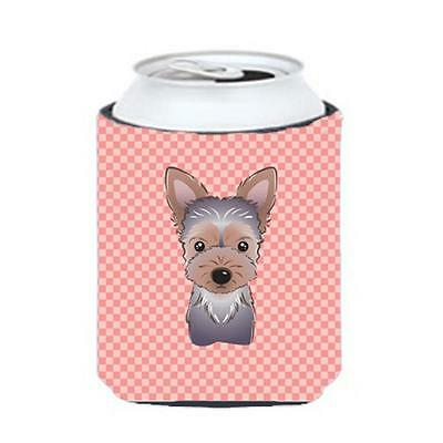 Carolines Treasures Checkerboard Pink Yorkie Puppy Can Or Bottle Hugger, 12 Oz.