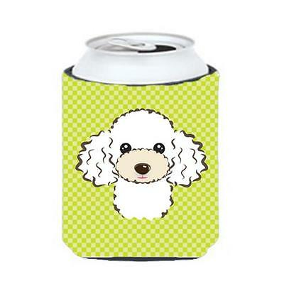 Checkerboard Lime Green White Poodle Can Or Bottle Hugger, 12 Oz.