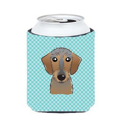 Checkerboard Blue Wirehaired Dachshund Can Or Bottle Hugger, 12 Oz.