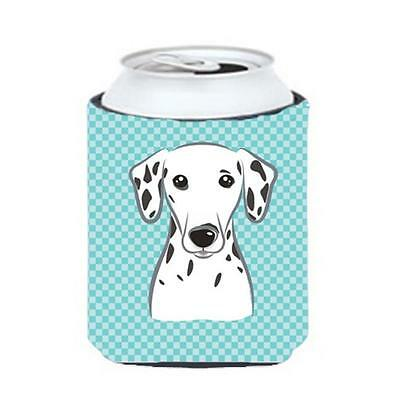 Carolines Treasures Checkerboard Blue Dalmatian Can Or Bottle Hugger, 12 Oz.